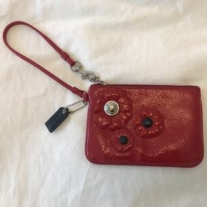 Coach poppy red patent leather small wristlet